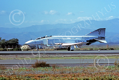 F-4USN 00739 A taxing McDonnell Douglas YF-4J Phantom II US Navy 8350 VX-4 EVALUATORS NAS Pt Mugu 11-1977 military airplane picture by Michael Grove, Sr