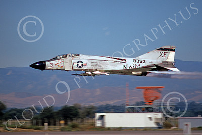 F-4USN 00038 A flying McDonnell Douglas F-4 Phantom II US Navy 8353 VX-4 EVALUATORS XF code NAS Pt Mugu 12-1973 military airplane picture by Michael Grove, Sr