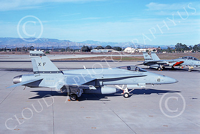 McDonnell Douglas F-18A-USN 00031 A static McDonnell Douglas F-18A Hornet USN 164867 VX-4 THE EVALUATORS NAS Pt Mugu 1-1994 military airplane picture by Mick Roth