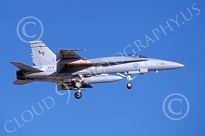 McDonnell Douglas F-18A-USN 00070 A landing McDonnell Douglas F-18A Hornet USN VX-4 THE EVALUATORS 7-1988 military airplane picture by Michael Grove, Sr