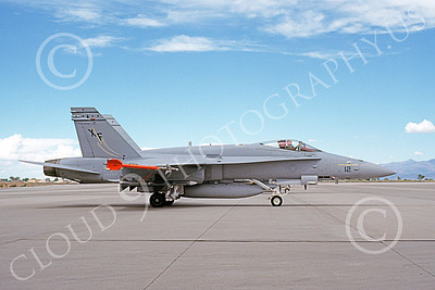 McDonnell Douglas F-18A-USN 00033 A static McDonnell Douglas F-18A Hornet USN 164037 VX-4 THE EVALUATORS NAS Pt Mugu 7-1990 military airplane picture by Michael Grove, Sr
