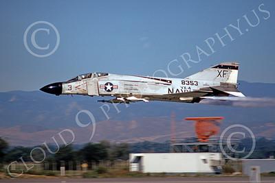 F-4USN 00038 A flying McDonnell Douglas F-4 Phantom II US Navy 8353 VX-4 EVALUATORS XF code NAS Pt Mugu 12-1973 military airplane picture by Michael Grove, Sr