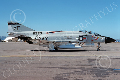 F-4USN 00741 A static McDonnell Douglas F-4J Phantom II US Navy 8350 VX-4 EVALUATORS NAS Alameda 3-1976 military airplane picture by Michael Grove, Sr