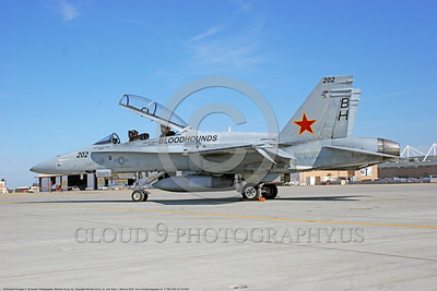 F-18B-USN-VX-30 0001 A static McDonnell Douglas F-18B Hornet USN jet fighter 162857 VX-30 BLOODHOUNDS NAS Lemoore 10-2005 military airplane picture by Michael Grove, Sr      DONEwt