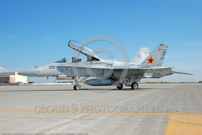 F-18B-USN-VX-30 0003 A static McDonnell Douglas F-18B Hornet USN jet fighter 162857 VX-30 BLOODHOUNDS NAS Lemoore 10-2005 military airplane picture by Michael Grove, Sr      DONEwt