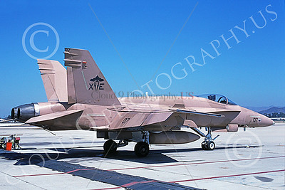 McDonnell Douglas F-18A-USN 00041 A static McDonnell Douglas F-18A Hornet USN VX-9 VAMPIRES XE code NAS Pt Mugu 9-1994 military airplane picture by Mick Roth