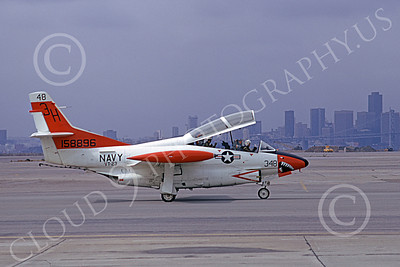 T-2USN 00105 A taxing North American Aviation T-2C Buckeye USN 158896 VT-23 PROFESSIONALS 3H code NAS Alameda 10-1973 military airplane picture by Michael Grove, Sr