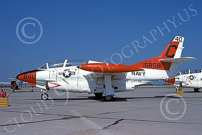 T-2USN 00055 A static North American Aviation T-2C Buckeye USN 158581 VT-26 FLYING TIGERS 10-1979 military airplane picture by Michael Grove, Sr