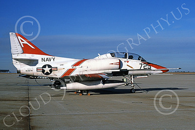 TA-4USN 00501 A static Douglas TA-4J Skyhawk jet attack trainer US Navy 153678 VT-7 EAGLES 1-1997 military airplane picture by Michael Grove, Sr