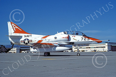 TA-4USN 00503 A static Douglas TA-4J Skyhawk jet attack trainer US Navy 158500 VT-7 EAGLES NAS Alameda 1-1983 military airplane picture by Michael Grove, Sr