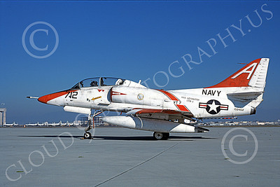 TA-4USN 00509 A static Douglas TA-4J Skyhawk jet attack trainer US Navy 158462 VT-7 EAGLES NAS Moffett 1-1982 military airplane picture by Michael Grove, Sr