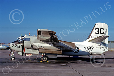 S-2USN 00073 A static Grumman US-2B Tracker USN 136636 VT-27 BOOMERS 3G code 6-1973 military airplane picture by Michael Grove, Sr