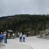Clingmans Dome stands over the parking lot.