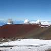 Panoramic to the northwest. Photo taken in between the U of Hawaii 0.6m Telescope and the United Kingdom IR Telescope.<br /> Left to right:  Crater Pu'u Poliahu, Subaru Telescope, W.M. Keck Observatory (I & II), NASA IR Telescope.