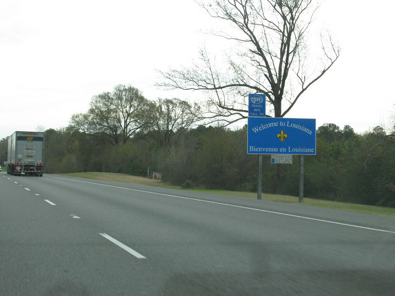 Heading east on I-20 at the Texas-Louisiana state line.