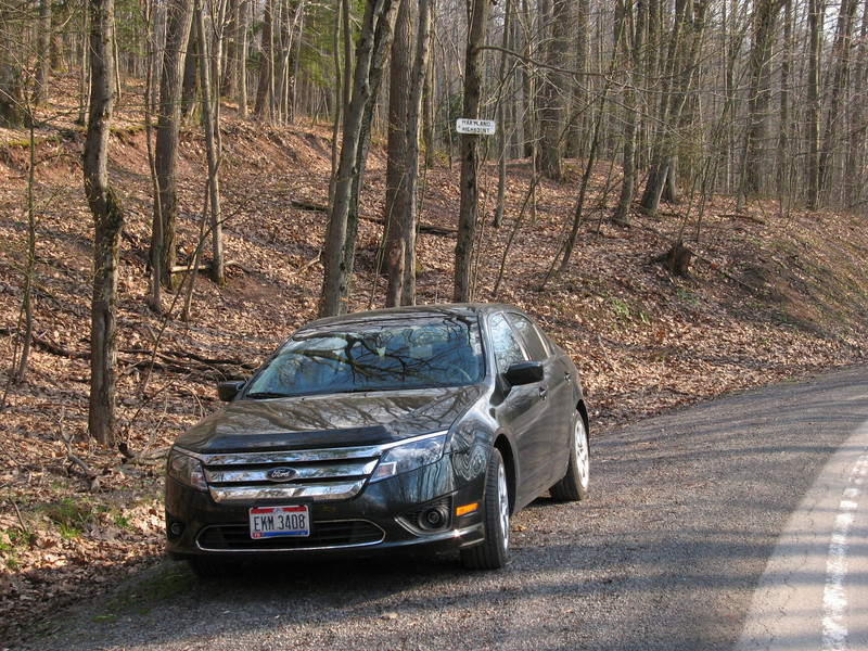 """Parking spot along Hwy 219 just inside West Virginia.  Note small """"Maryland Highpoint"""" sign on tree."""