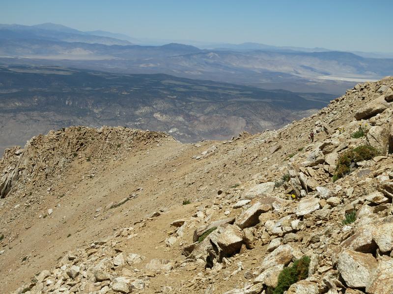 Heading back down the upper ridge.