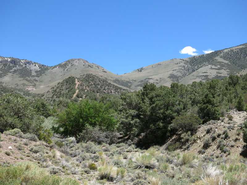 The hike begins at Kennedy Saddle which is in the center of the photo.