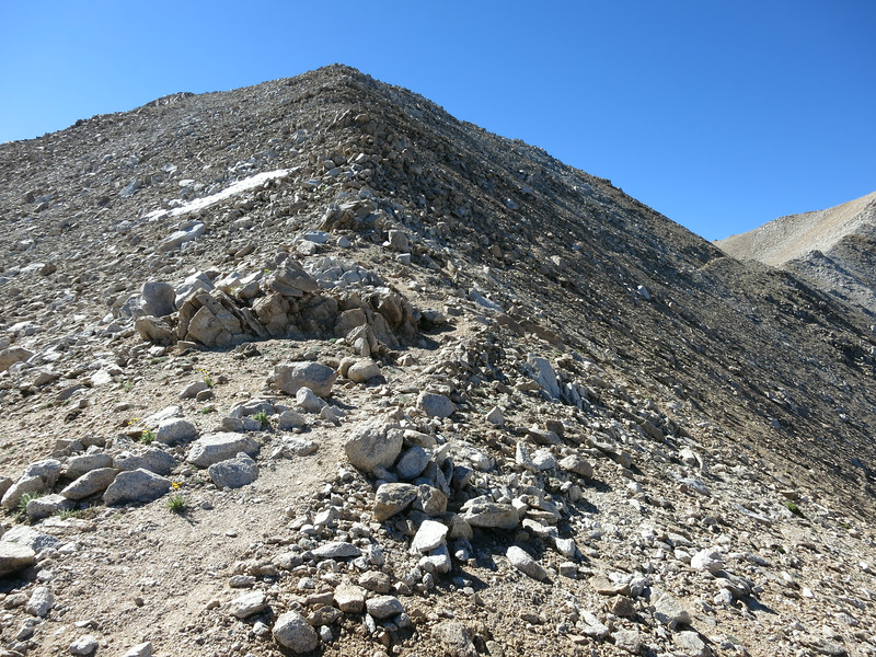 The traverse from the notch to gain the upper ridge.