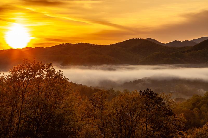 Sunrise over the Smokey Mountains