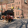 085 Horse-drawn trolley turns from Broadway onto Susquehanna St  in Jim Thorpe, PA
