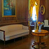 Blennerhassett mansion's lower drawing room featuring floor-to-ceiling, polished black walnut paneling