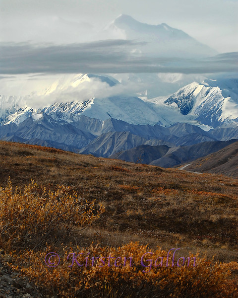 A first glimpse at one of the peaks of Denali.