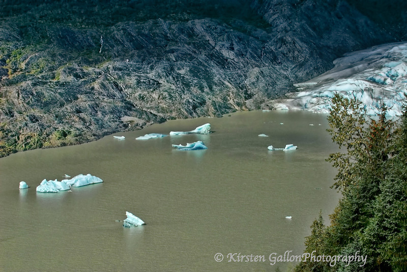 Little bits of ice breaking off from the glacier.