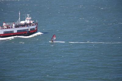 Boat and Windsurfer