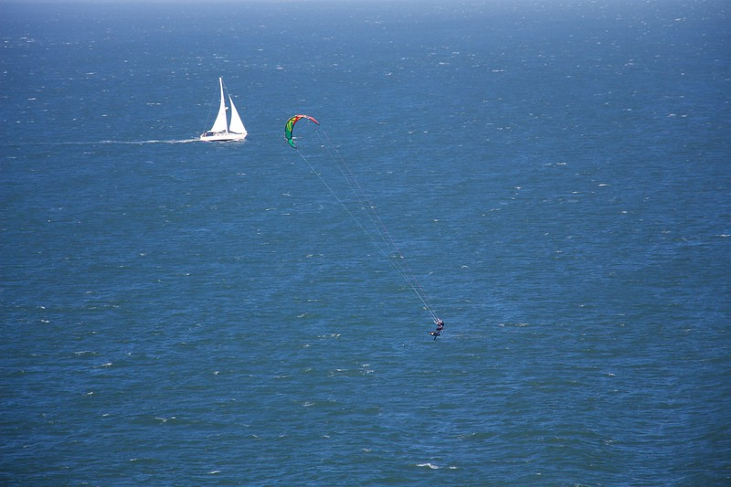 Sailboat and Windsurfer