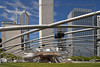 Looking down the Great Lawn located in front of the Jay Pritzker Pavilion in Millennium Park.  It was designed by Frank Gehry.