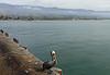 The Santa Ynez mountains near Santa Barbara, CA. The pelican is on Stearns Wharf.