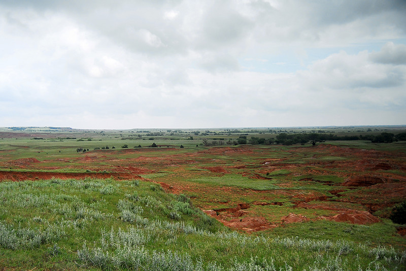You can see for miles and miles.  The red clay dirt is known throughout Oklahoma.