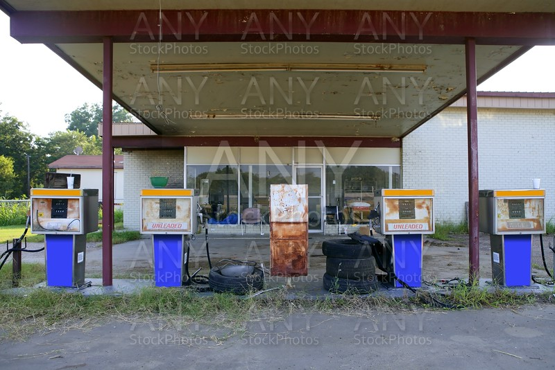 Aged old vintage gas station abandoned