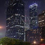 Blue night city lights and buildings in Houston