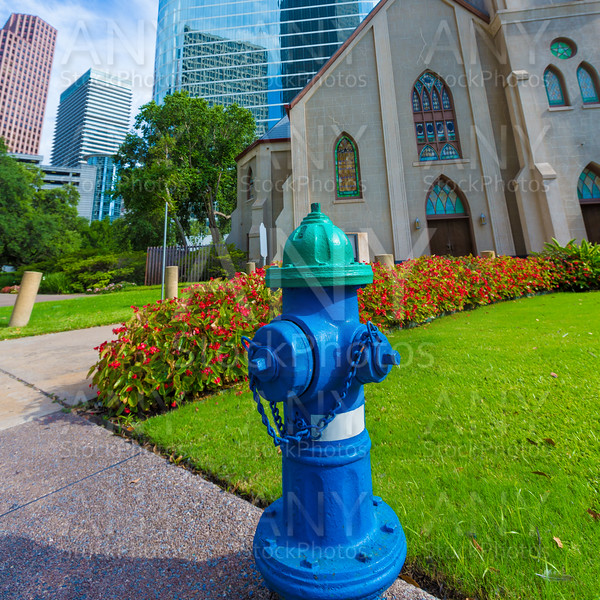 Fire hydrant blue in Houston Clay St Downtown