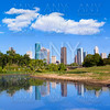 Houston skyline from Memorial park at Texas US