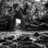 California Pfeiffer Beach in Big Sur State Park dramatic bw