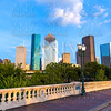 Houston skyline from Sabine St bridge Texas US