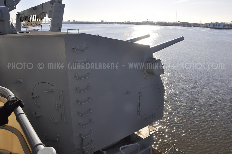 "One of the (6) remaining 5"" gun turrets aboard the New Jersey. Originally there were 10 but 4 were removed in the 1980's to make room for more advanced weapons systems."