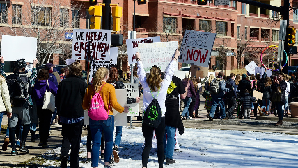 . BOULDER, CO - March 15, 2019:  Boulder area students as well as students from Conifer and Leadville gathered at the Central Park bandshell and marched around downtown Boulder. Around the world, thousands of young people are demanding action on climate change. Some students in Colorado are preparing to miss class Friday as part of the U.S. Youth Climate Strike. (Photo by Cliff Grassmick/Staff Photographer)
