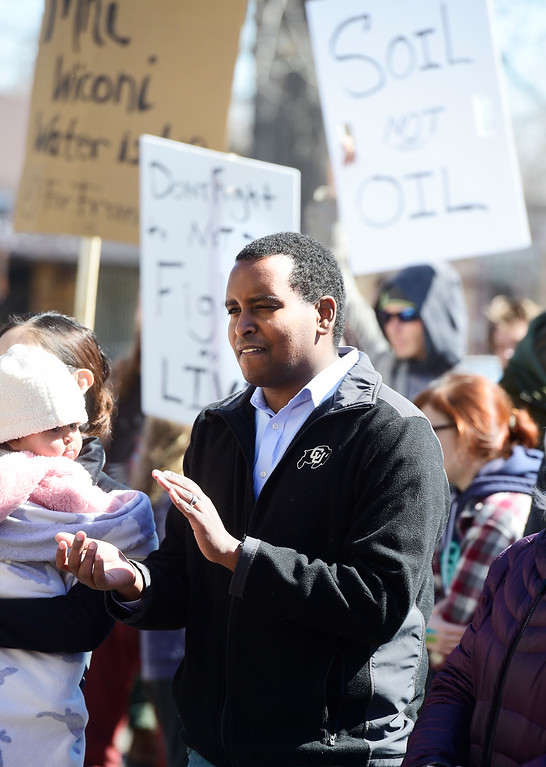 . BOULDER, CO - March 15, 2019:  Colorado Representative, Joe Neguse, participated in the climate strike. Boulder area students as well as students from Conifer and Leadville gathered at the Central Park bandshell and marched around downtown Boulder. Around the world, thousands of young people are demanding action on climate change. Some students in Colorado are preparing to miss class Friday as part of the U.S. Youth Climate Strike. (Photo by Cliff Grassmick/Staff Photographer)
