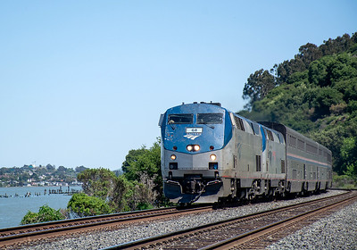 April 24, 2020.  An hour early westbound Zephyr motors through Eckley on its way along Carquinez Strait and San Pablo Bay on its last leg to Emeryville.