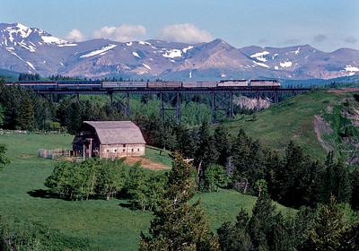 June 1990.  Two Medicine trestle just east of East Glacier station on the BN.