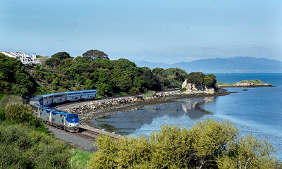 March 27, 2020.  Amtrak No. 6, the eastbound California Zephyr, passes Pinole Shores park along San Francisco bay shortly after originating at Emeryville.