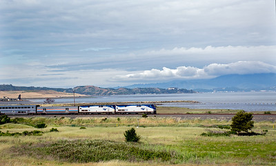 May 11, 2020.  The Amtrak San Francisco Zephyr heads east past Point Pinole on the the shores of San Pablo Bay north of Richmond.