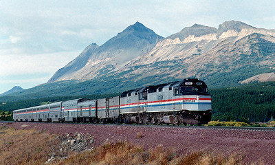 The Amtrak Empire Builder east at Bison on the BNSF.  September 1994.