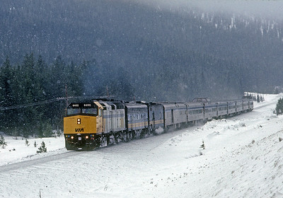 The Canadian eastbound at Kickinghorse Pass on the CPR.
