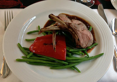 April 2018.  One of the regular entrees in the dining car is a rack of lamb served like this.