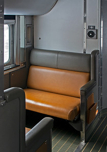 Interestingly the Canadian still offers open sections, an old style of sleeping car accomodation that disappeared quickly after World War Two.  But they remained popular in Canada and all the CP sleepers were built with them and it would be expensive to replace them.  Two facing seats make up into a lower berth, and an upper berth folds down from above.  Night time privacy is provide by heavy curtains, and washrooms are down the hall.  April 2018.